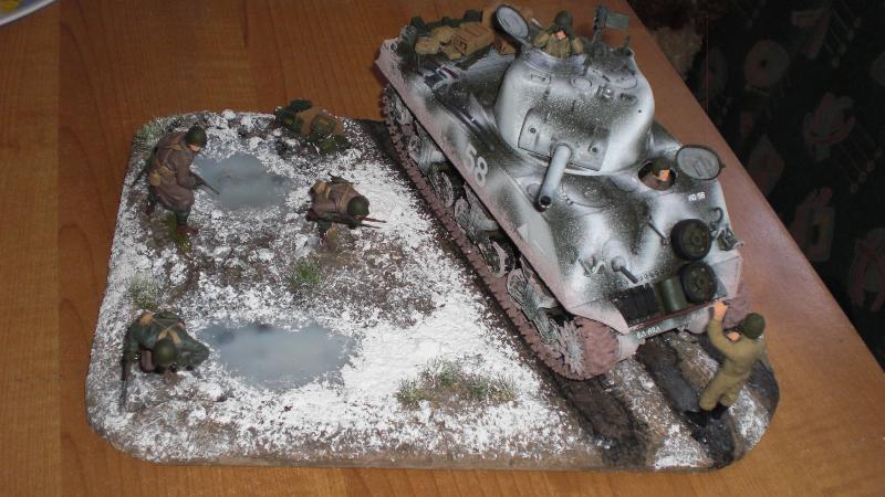 Sherman Panzer - Diorama Ansicht von schräg oben